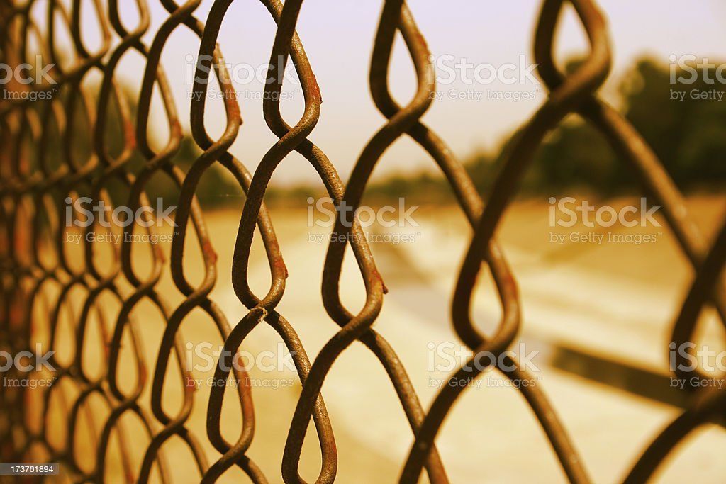 Los angeles river through fence. stock photo