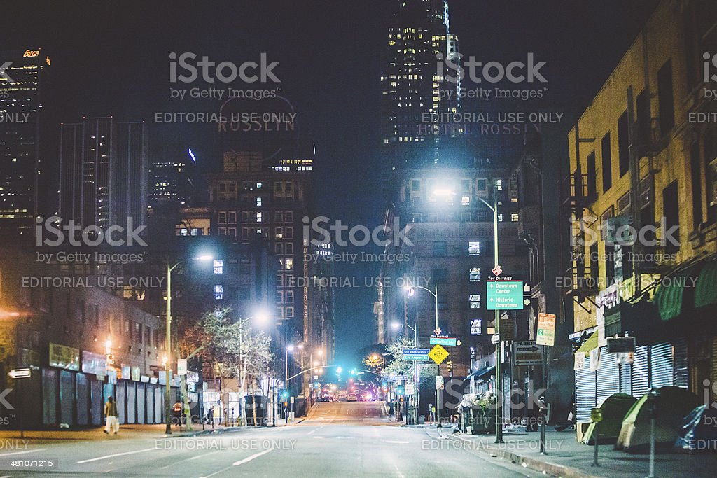 Los Angeles Skid Row. stock photo