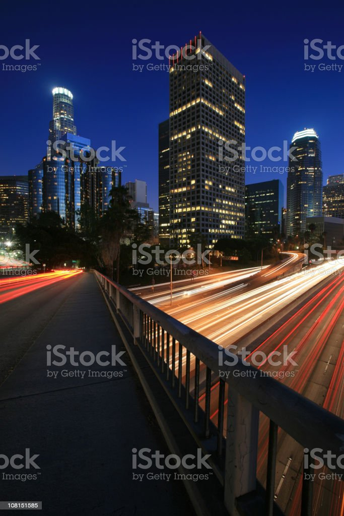 Los Angeles Skyline and Freeway at Night, Long Exposure royalty-free stock photo