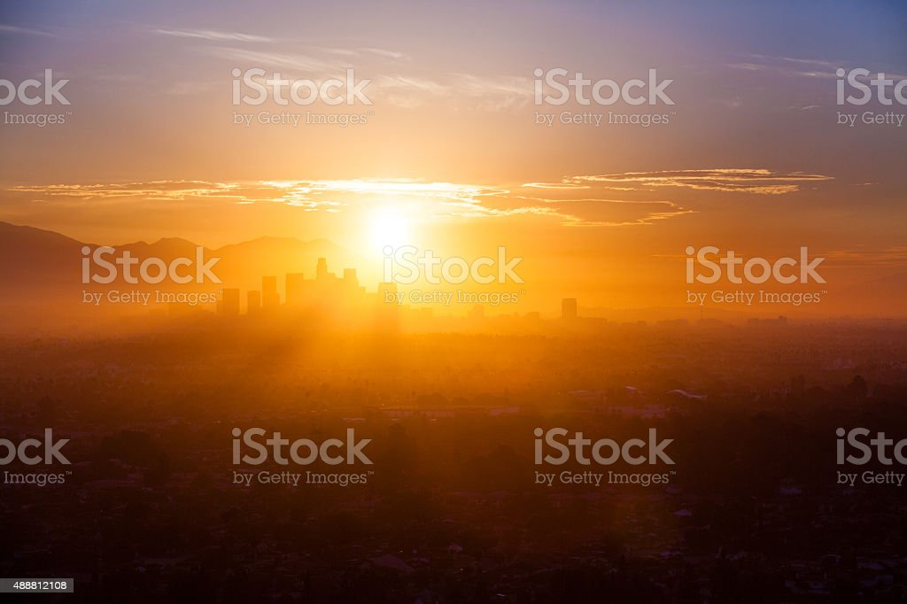 Los Angeles Skyline And Mountains In A Smokey Sunrise Haze stock photo