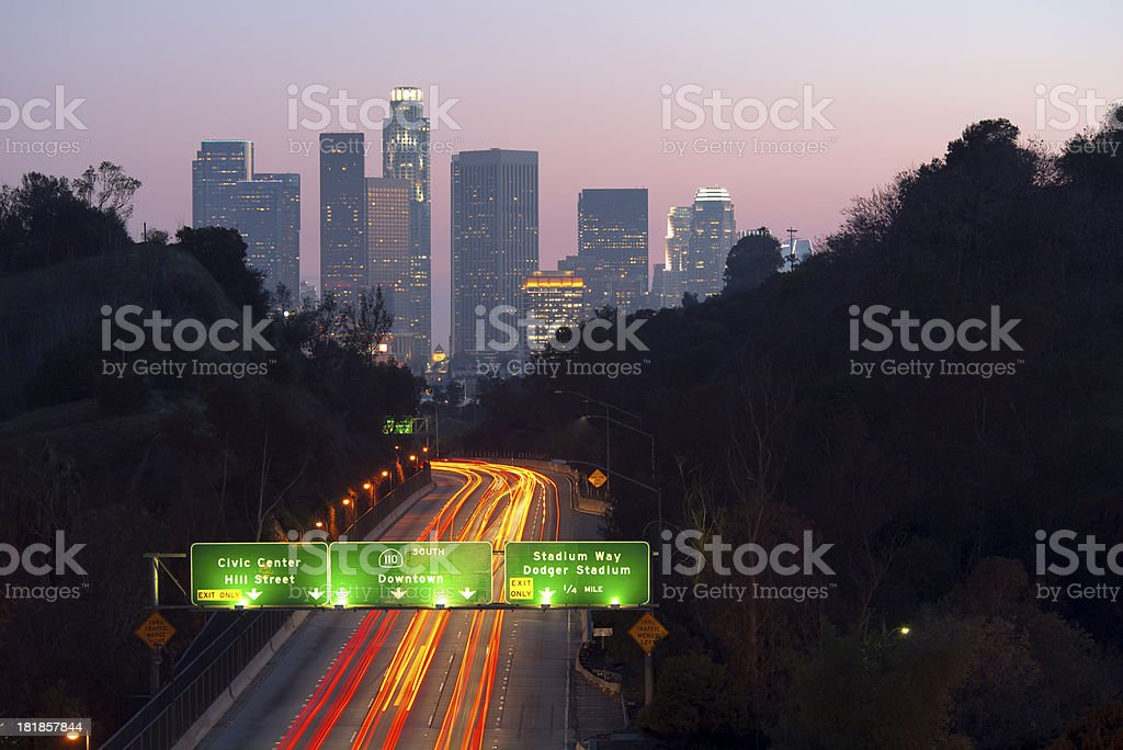 Los Angeles Skyline at Dusk stock photo
