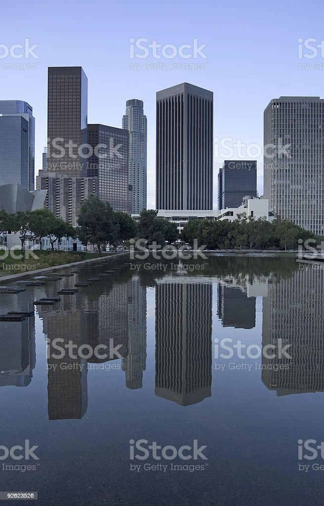 Los Angeles Skyline at Dusk royalty-free stock photo