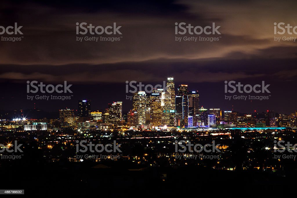 Los Angeles Skyline At Night From Baldwin Hills royalty-free stock photo