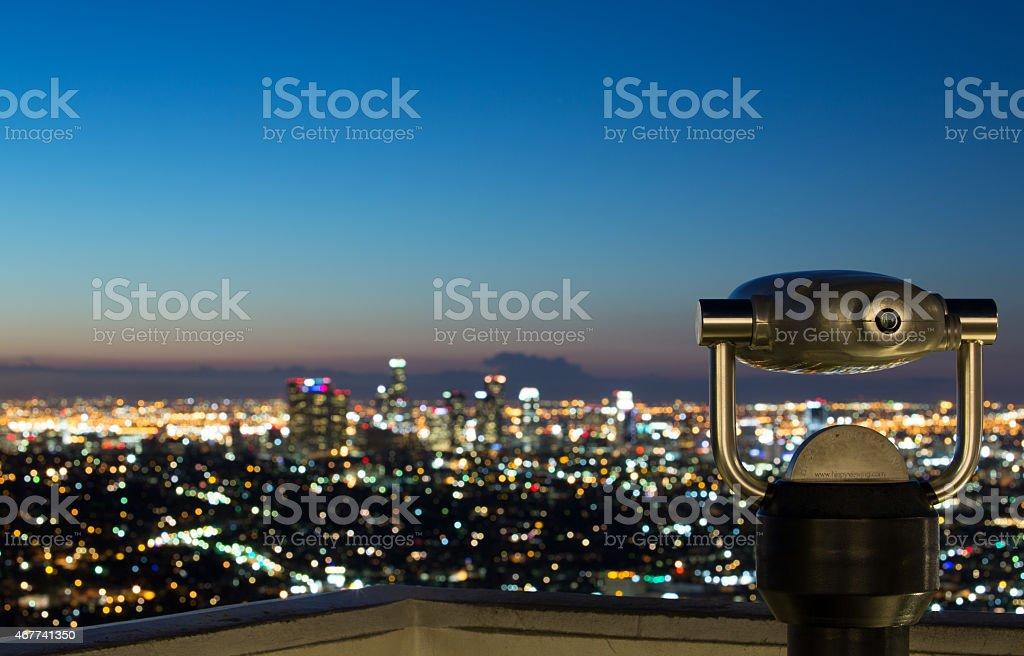 Los Angeles skyline at sunrise stock photo