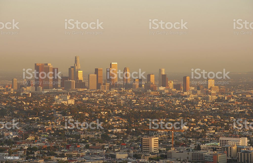 Los Angeles skyline at sunset royalty-free stock photo