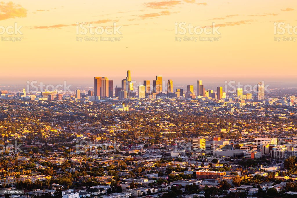 Los Angeles Skyline at Sunset stock photo