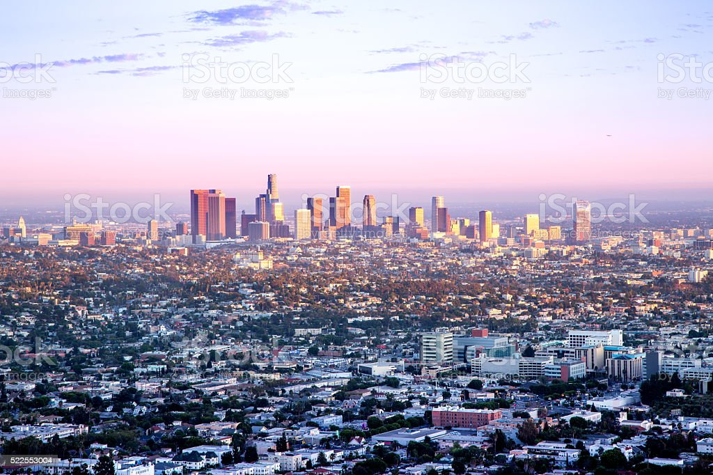 Los Angeles Skyline at Sunset stock photo