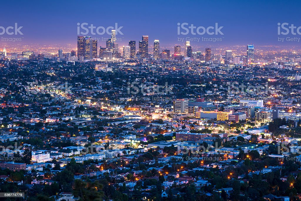 Los Angeles Skyline Cityscape at Dusk, California, USA stock photo