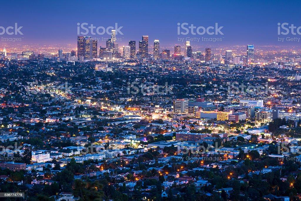 Los Angeles Skyline Cityscape at Dusk, California, USA stock photo