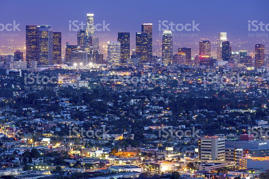 Los Angeles Skyline Cityscape, California, USA stock photo