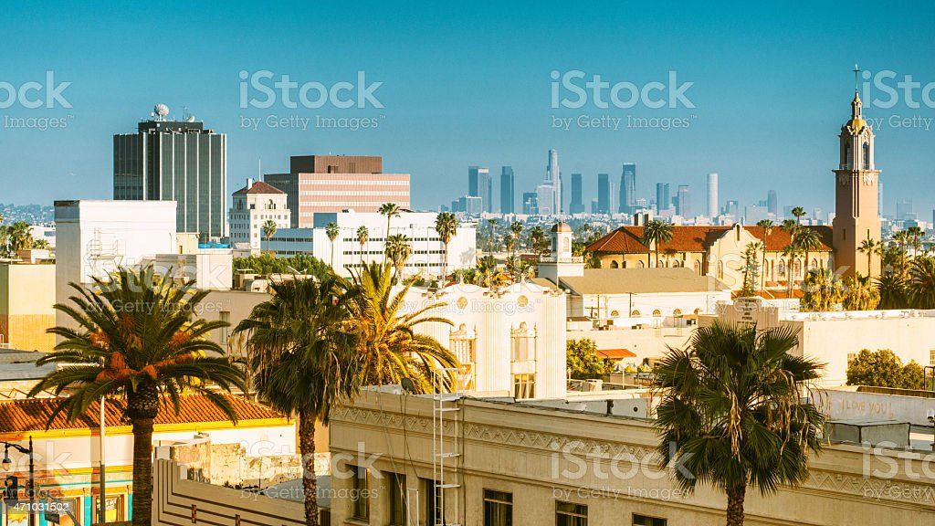 Los Angeles Skyline from Hollywood Boulevard stock photo