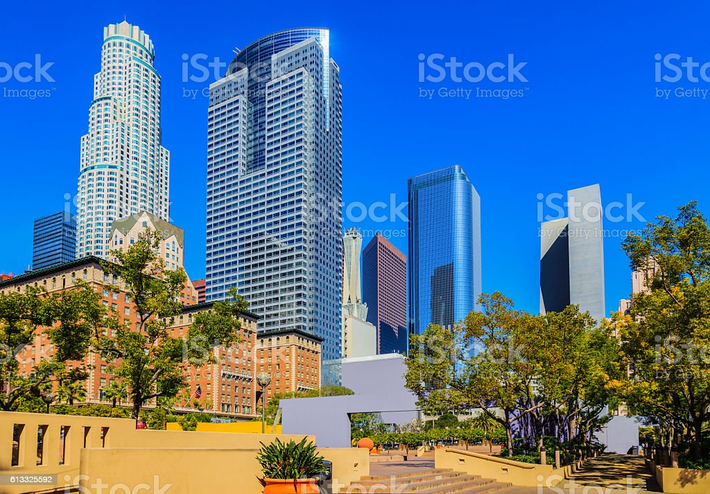 Los Angeles skyline from Pershing Square, California stock photo