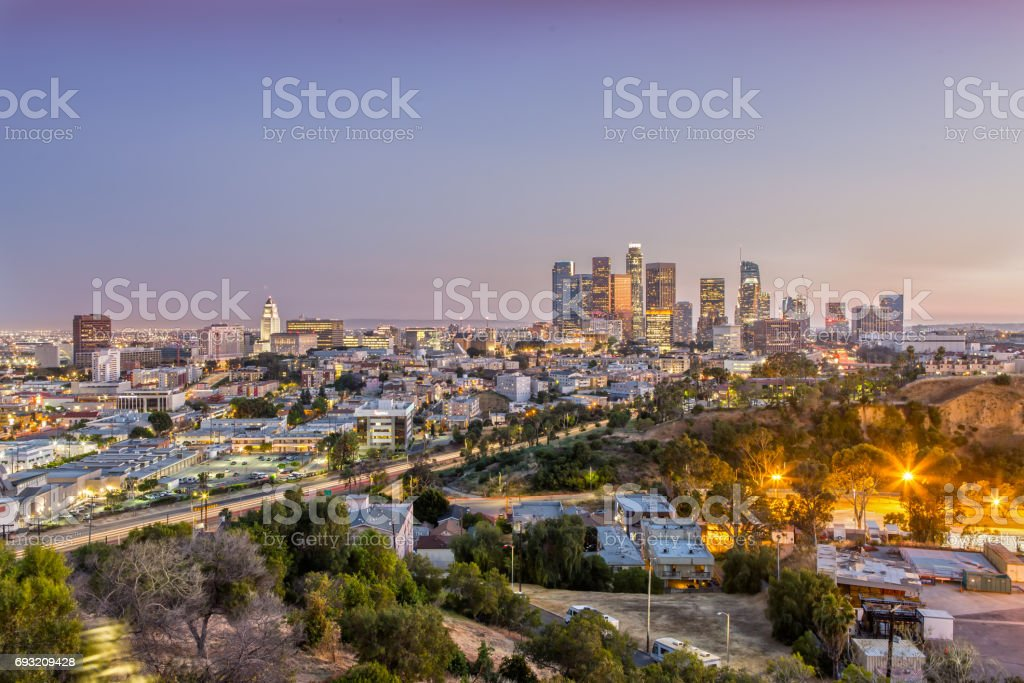 Los Angeles Skyline in a beautiful light stock photo