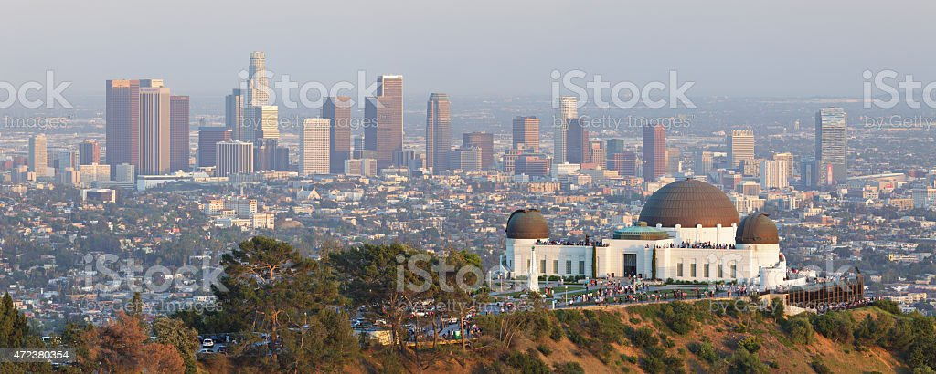 Los Angeles Skyline + Observatory stock photo