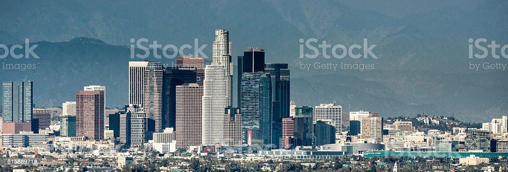 Los angeles skyline of the city stock photo