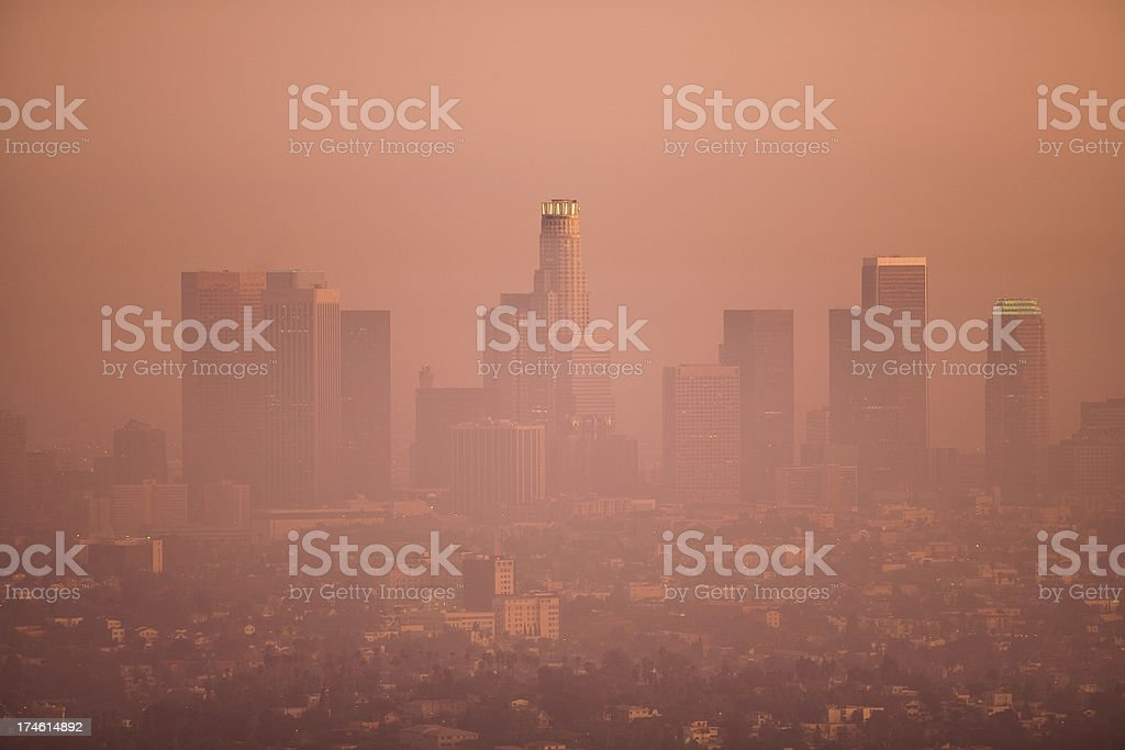 Los Angeles Skyline on a Smoggy Day royalty-free stock photo