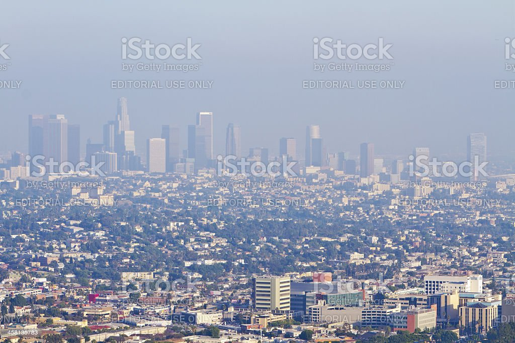 Los Angeles Skyline On An Unhealthy Air Quality Day royalty-free stock photo