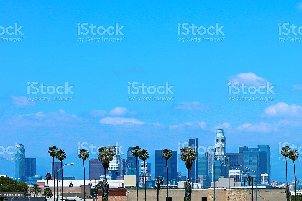 Los Angeles Skyline Palm Trees stock photo