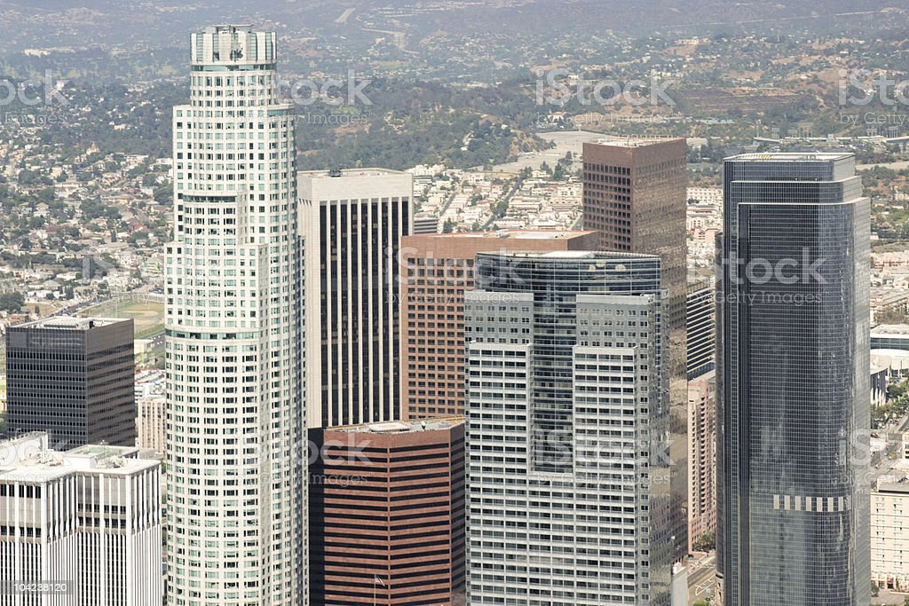 Los Angeles Skyscrapers Aerial View stock photo