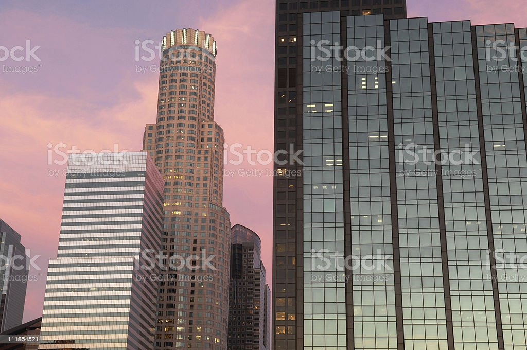 Los Angeles Skyscrapers Reflecting Sunset royalty-free stock photo