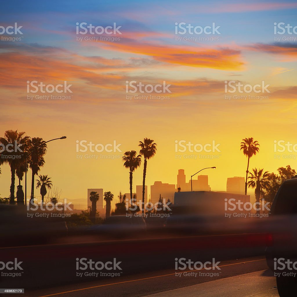 LA Los Angeles sunset skyline with traffic California stock photo
