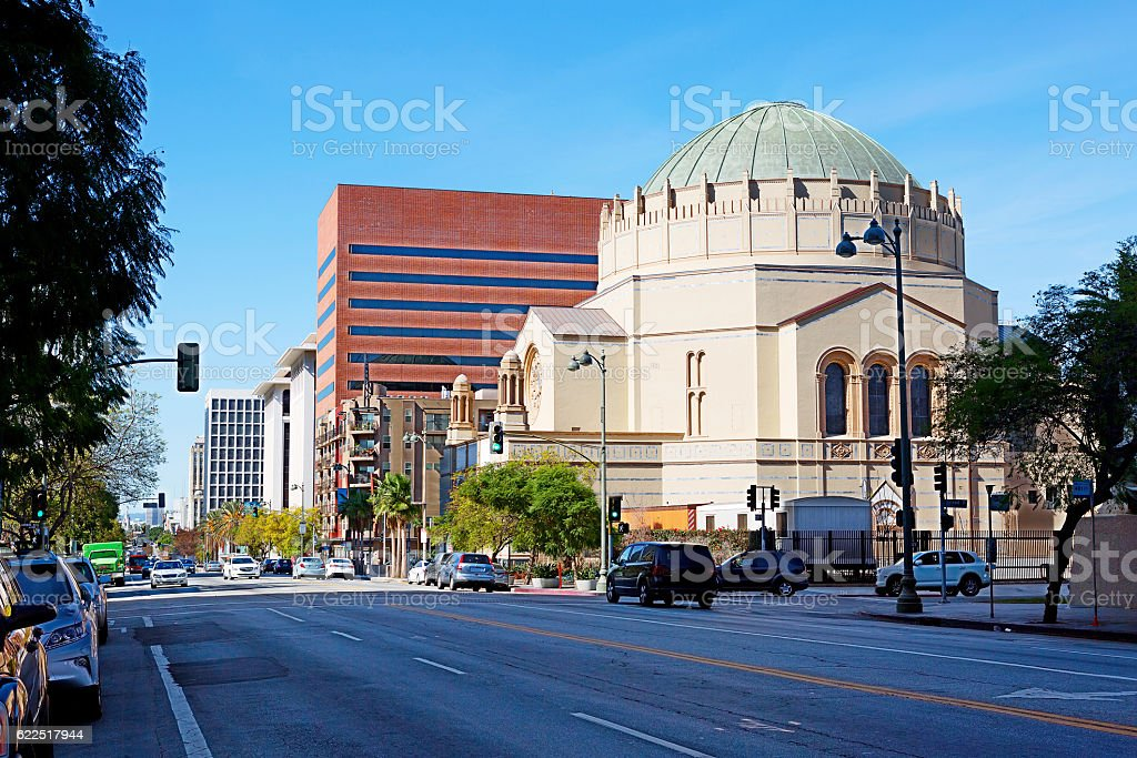 Los Angeles. Temple on Wilshire Boulevard stock photo