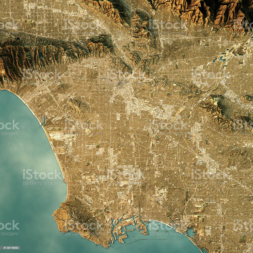 Los Angeles Topographic Map Natural Color Top View Stock Photo - Los angeles topographic map