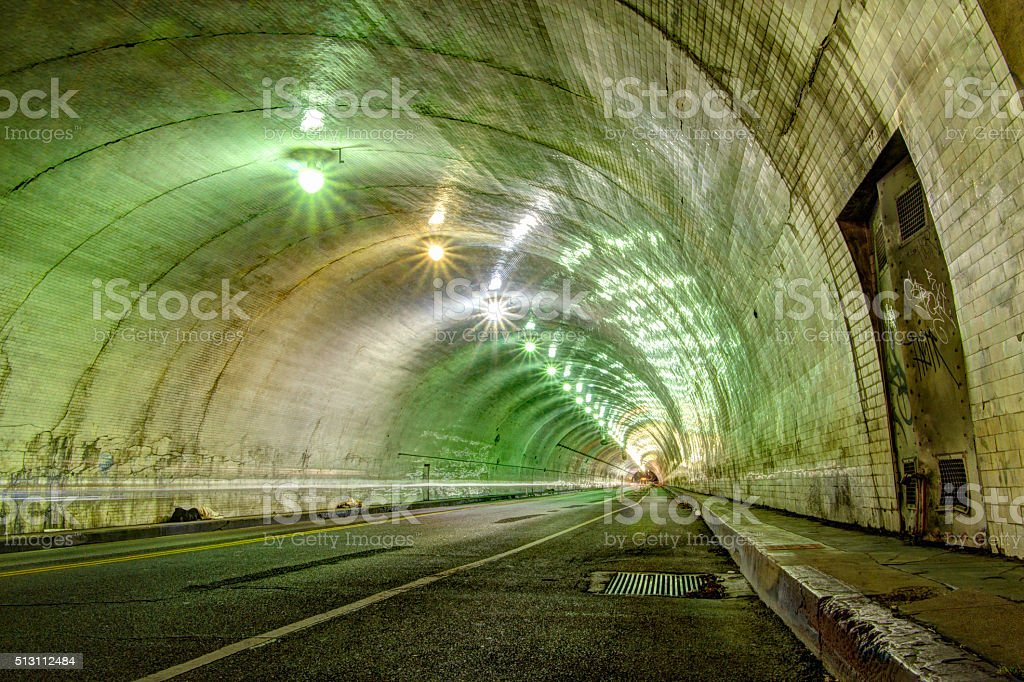 Los Angeles Tunnel at Night... stock photo