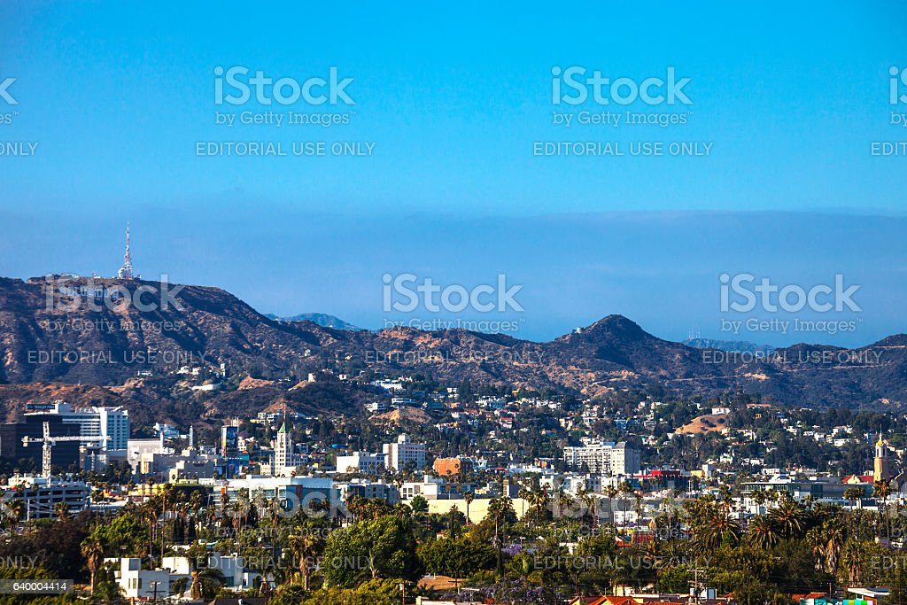 Los Angeles view to Hollywood. stock photo