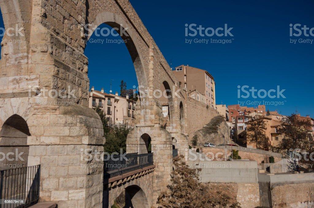 Los Arcos aqueduct in old town. Teruel, Aragon, Spain stock photo