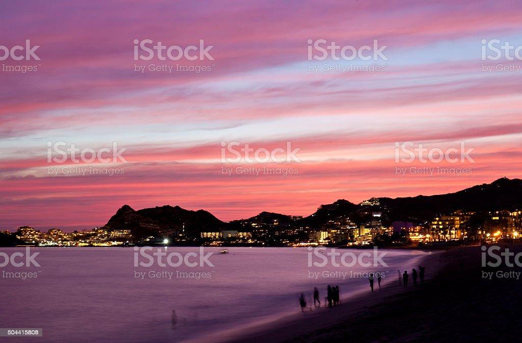 Los Cabos Beach at Night stock photo