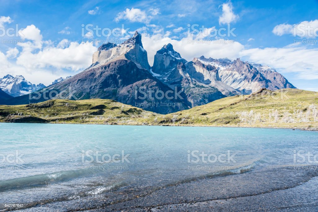 Los Cuernos, Torres del Paine National Park, Patagonia, Chile stock photo