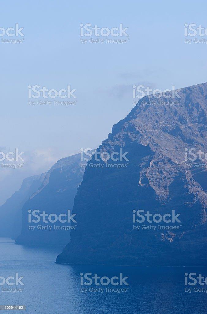 Tenerife Los Gigantes cliff, al mattino. foto stock royalty-free