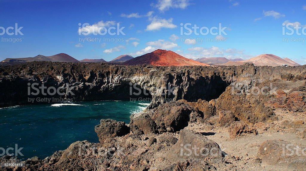 Los Hervideros, coastline in Lanzarote, Spain stock photo