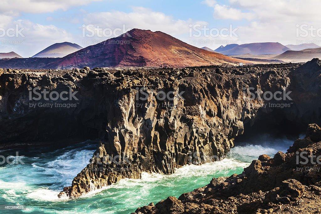 Los Hervideros, coastline in Lanzarote with waves stock photo