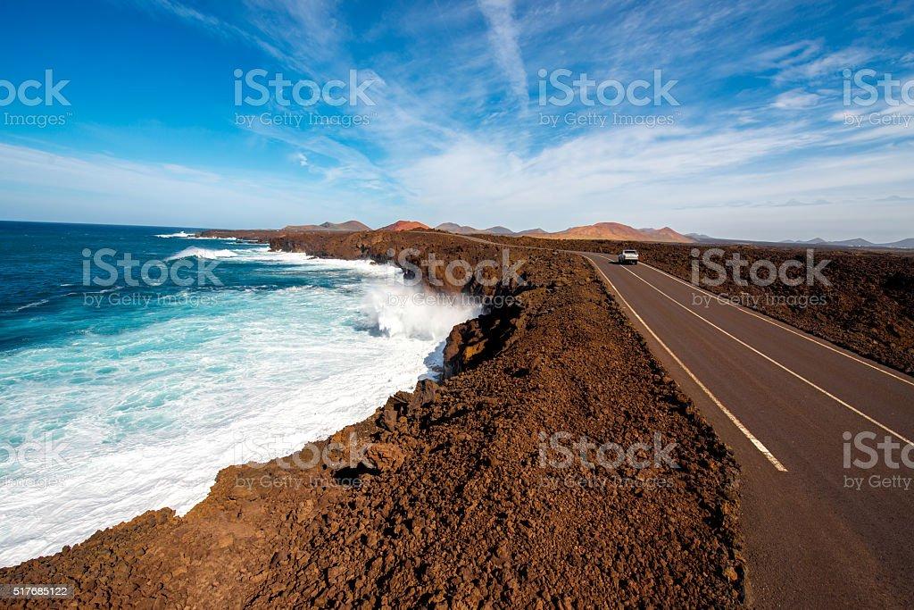 Los Hervideros coastline on Lanzarote island stock photo