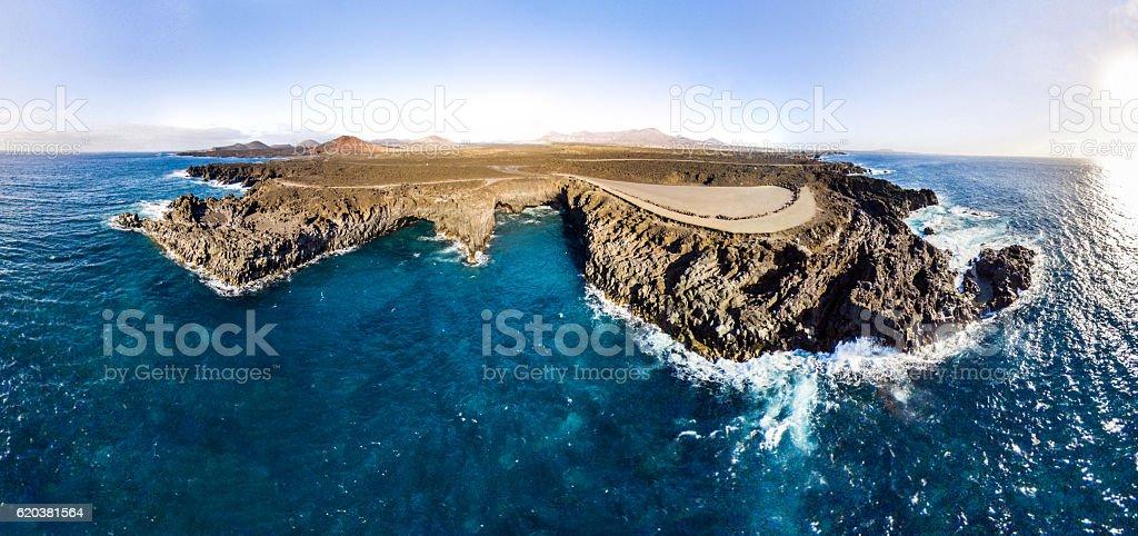los hervideros de lanzarote canarias aerial panoramic stock photo