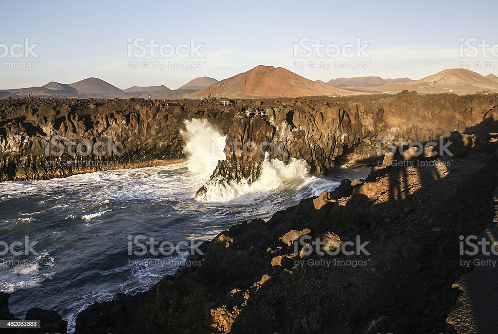Los Hervideros, Lanzarote, Canary Islands. The place where lava stock photo