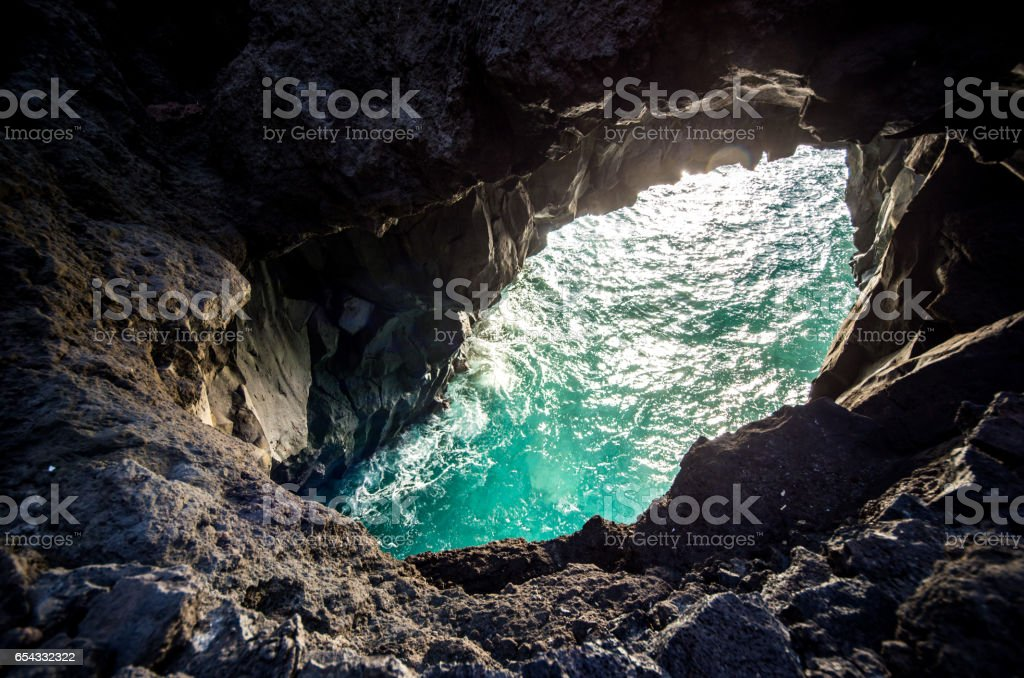 los hervideros sea el golfo lanzarote hole stock photo