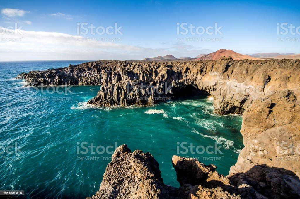 los hervideros sea el golfo lanzarote stock photo