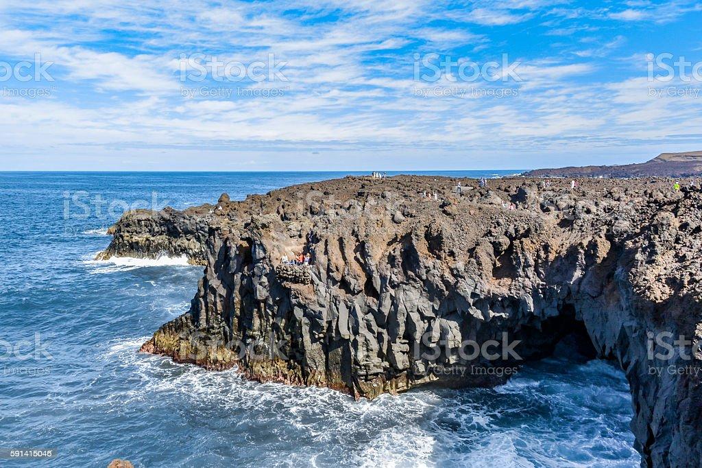 Los Hervideros, tourist attraction, Lanzarote, Spain stock photo