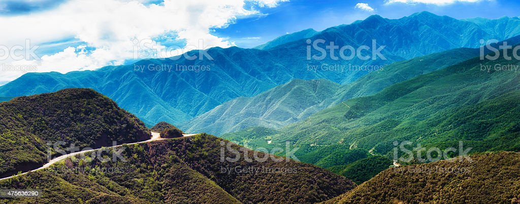 Los Padres national forest panorama with winding road and mountains stock photo