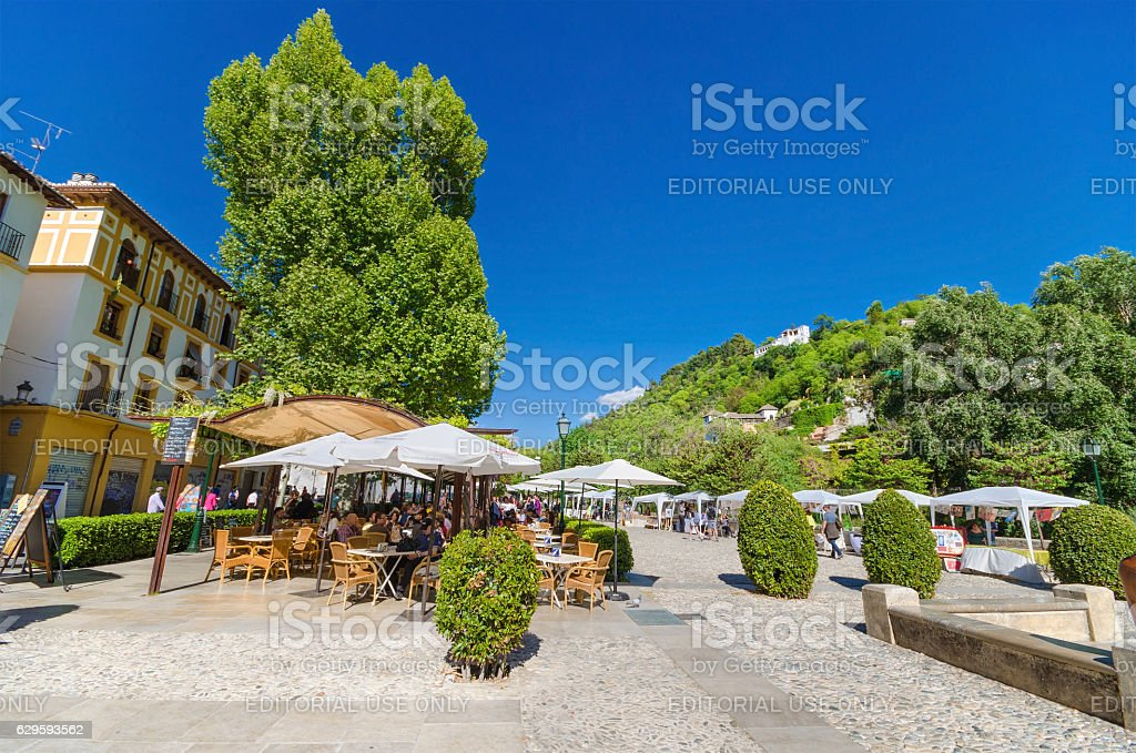 Los tristes Boulevard in Granada, Spain. stock photo
