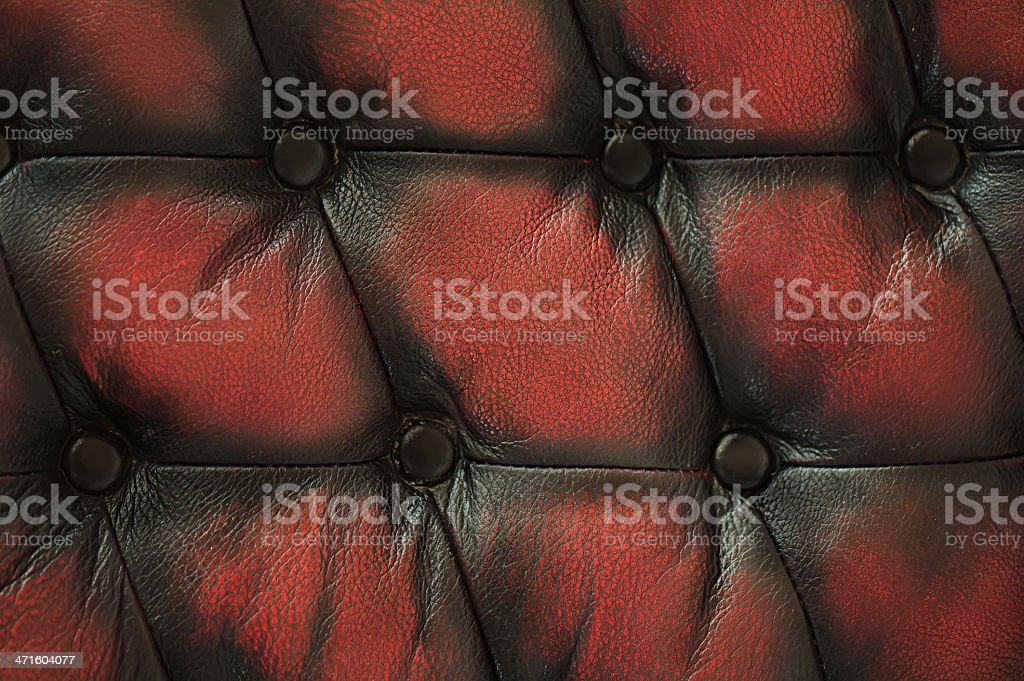 Close up old red black luxury buttoned leather background. royalty-free stock photo