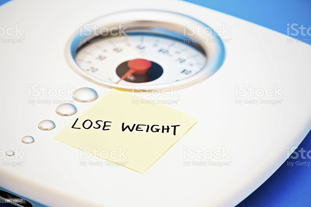 Lose Weight instruct bathroom scales royalty-free stock photo