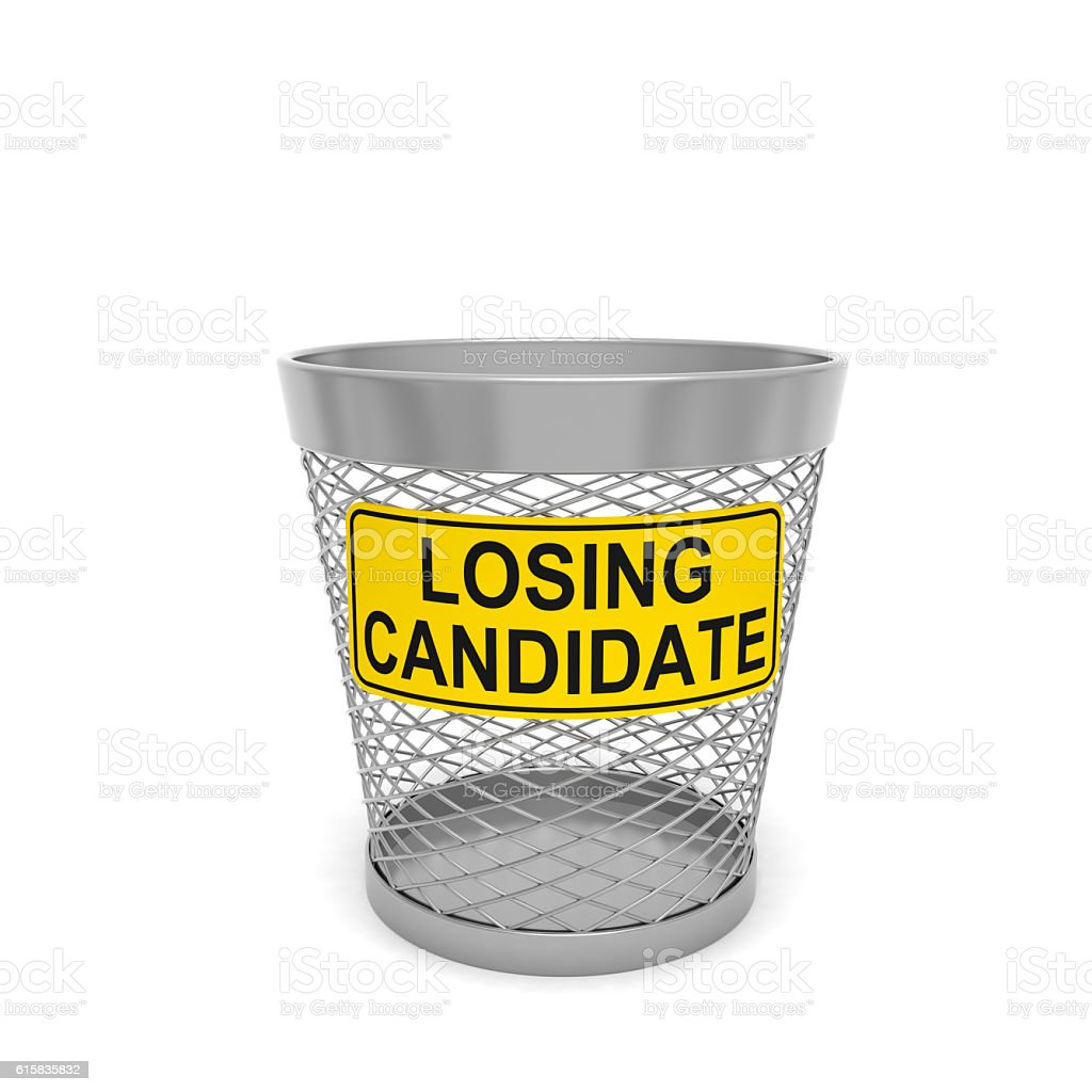 Losing candidate. Warning tablet with text message on trash bin stock photo