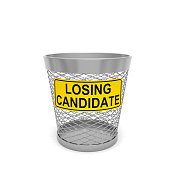 Losing candidate. Warning tablet with text message on trash bin