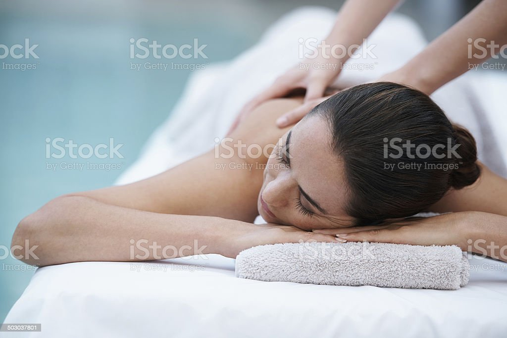 Losing herself in sublime comfort stock photo