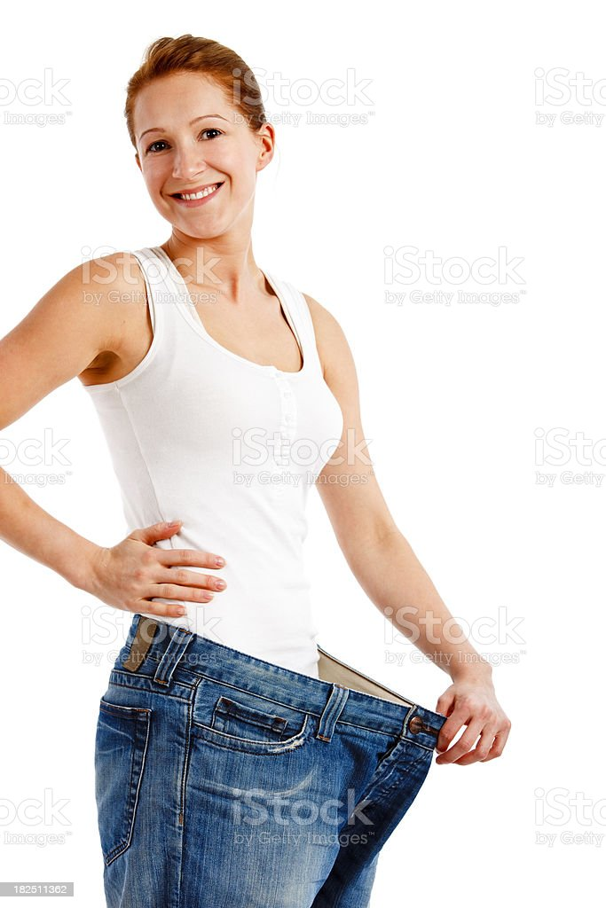 Losing weight isolated on white royalty-free stock photo