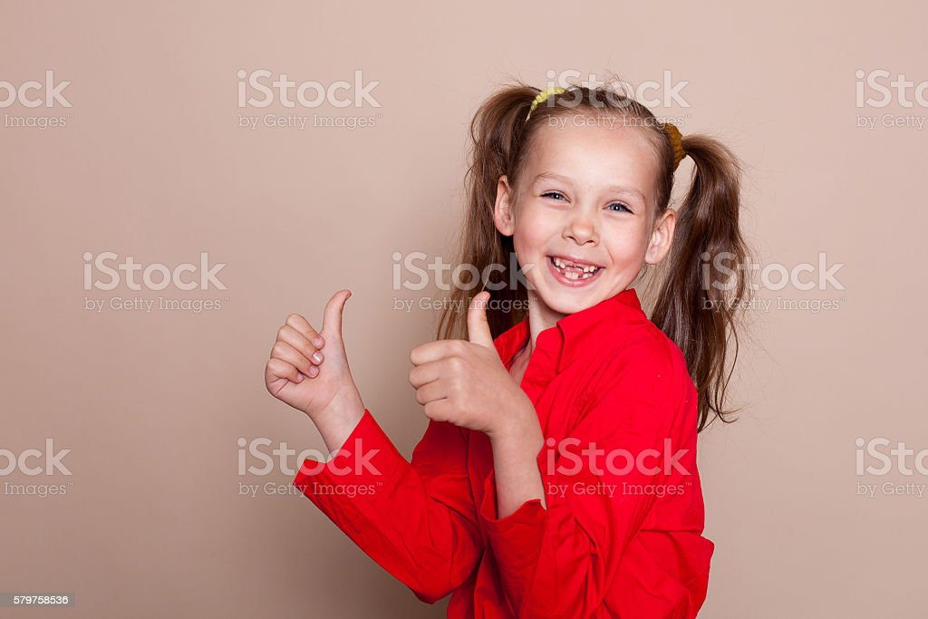 loss of primary teeth the girl smile stock photo